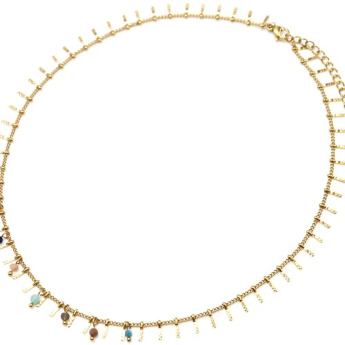 Collier-Ras-du-Cou-avec-Pampilles-Relief-Carreaux-Acier-Dore-et-Perles-Multicolore