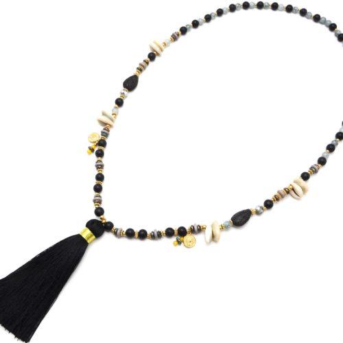 Sautoir-Collier-Perles-Bois-et-Verre-avec-Cauris-Pieces-et-Pompon-Noir