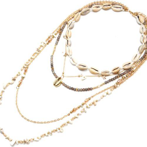 Sautoir-Collier-Multi-Rangs-Perles-Verre-et-Pierres-Ecru-avec-Cauris