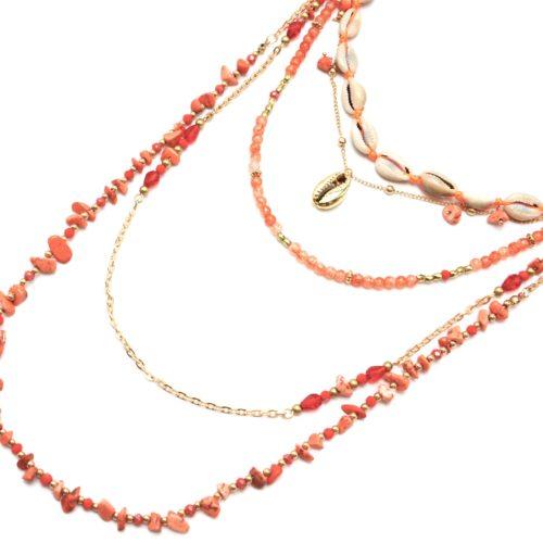 Sautoir-Collier-Multi-Rangs-Perles-Verre-et-Pierres-Oranges-avec-Cauris