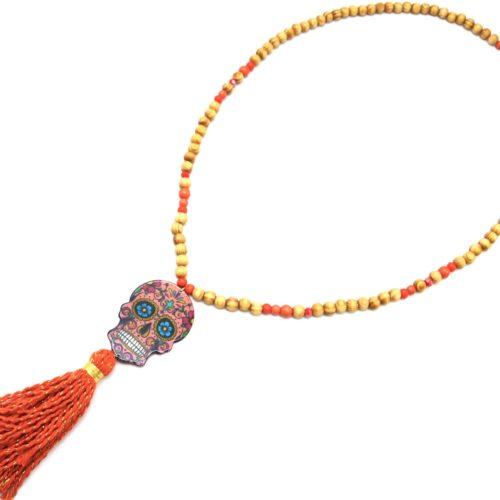 Sautoir-Collier-Perles-Bois-avec-Tete-de-Mort-Calavera-et-Pompon-Orange