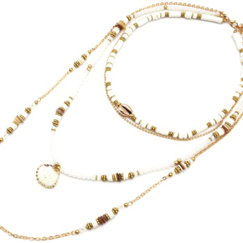 Sautoir-Collier-Multi-Rangs-Perles-et-Vinyles-Ecru-avec-Cauri-et-Coquillage