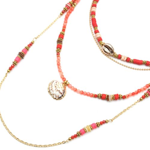 Sautoir-Collier-Multi-Rangs-Perles-et-Vinyles-Orange-avec-Cauri-et-Coquillage