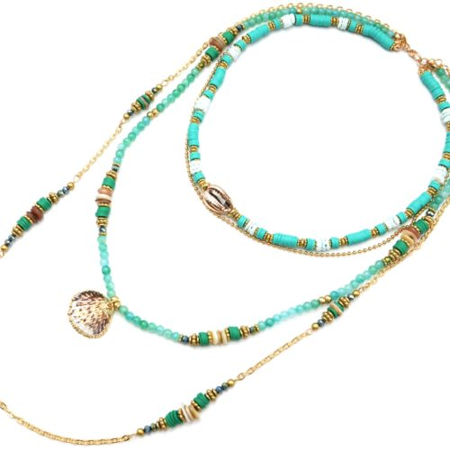 Sautoir-Collier-Multi-Rangs-Perles-et-Vinyles-Vert-avec-Cauri-et-Coquillage