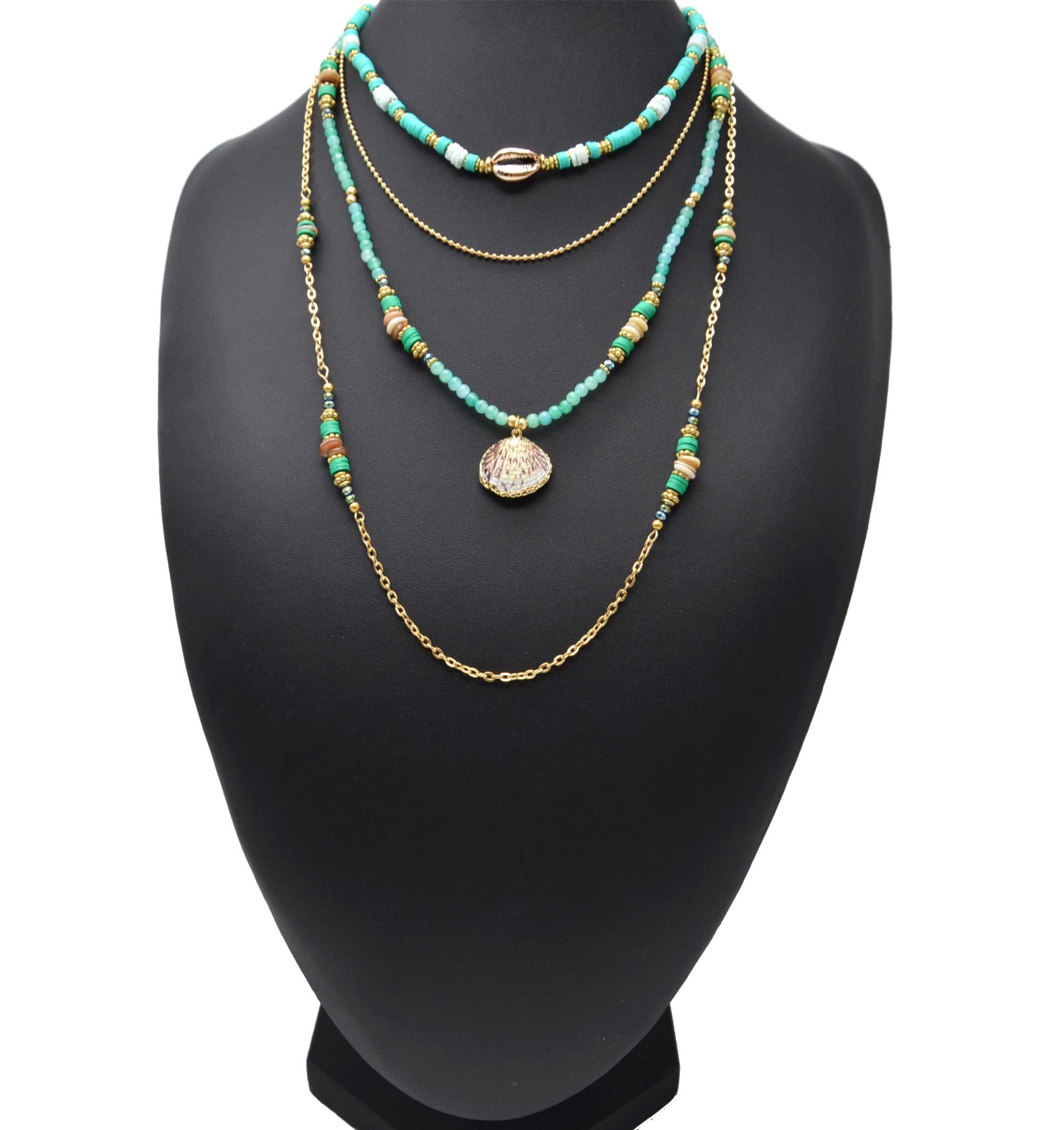 Bague argent 925 double rang de perles et pendentif coquillage cauri