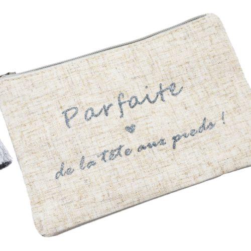 Trousse-Pochette-Toile-Chinee-Message-Parfaite-de-la-tete-aux-pieds-et-Pompon-Argente