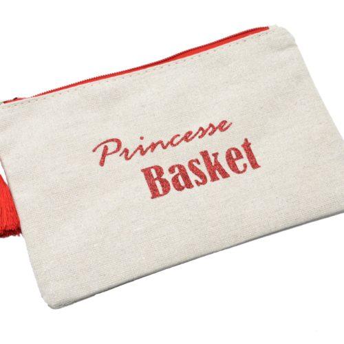 Trousse-Pochette-Toile-Message-Princesse-Basket-Paillettes-et-Pompon-Rouge