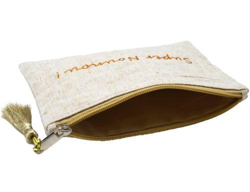 Trousse-Pochette-Toile-Chinee-Message-Super-Nounou-Paillettes-et-Pompon-Dore