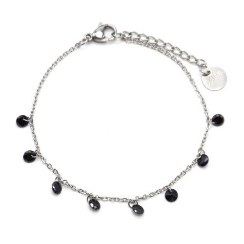 Bracelet-Fine-Chaine-Acier-Argente-avec-Charms-Pierres-Noires