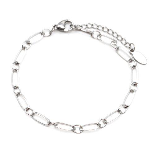 Bracelet-Chaine-avec-Maillons-Rectangles-Acier-Argente