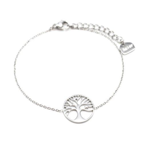 Bracelet-Fine-Chaine-avec-Cercle-Ajoure-Arbre-de-Vie-Acier-Argente