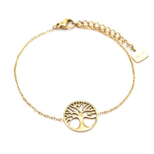 Bracelet-Fine-Chaine-avec-Cercle-Ajoure-Arbre-de-Vie-Acier-Dore
