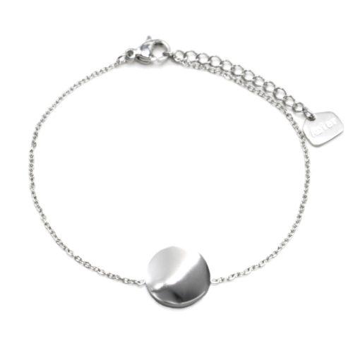 Bracelet-Fine-Chaine-avec-Medaille-Martelee-Acier-Argente