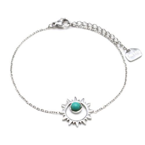 Bracelet-Fine-Chaine-avec-Soleil-Contour-Acier-Argente-et-Pierre-Turquoise