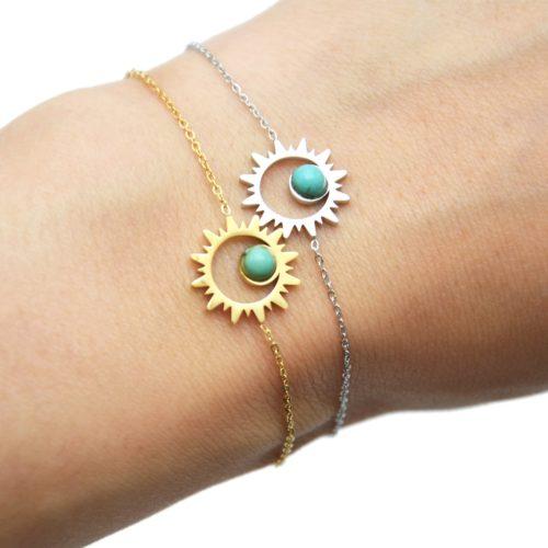 Bracelet-Fine-Chaine-avec-Soleil-Contour-Acier-et-Pierre-Turquoise