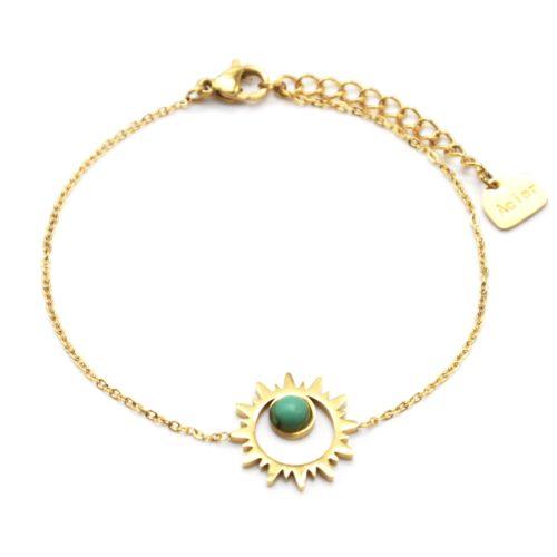 Bracelet-Fine-Chaine-avec-Soleil-Contour-Acier-Dore-et-Pierre-Turquoise