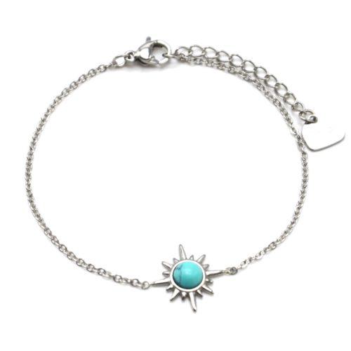 Bracelet-Fine-Chaine-avec-Etoile-Polaire-Acier-Argente-et-Pierre-Turquoise