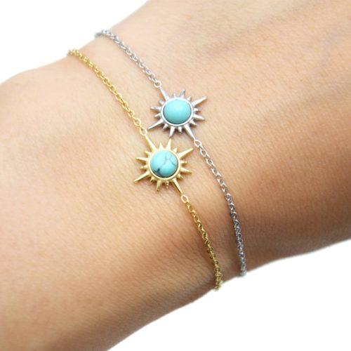 Bracelet-Fine-Chaine-avec-Etoile-Polaire-Acier-et-Pierre-Turquoise