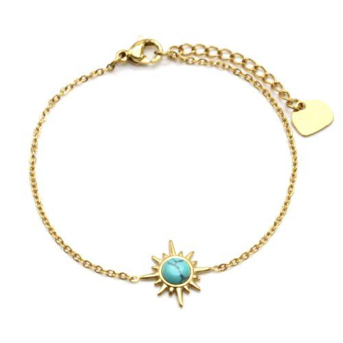Bracelet-Fine-Chaine-avec-Etoile-Polaire-Acier-Dore-et-Pierre-Turquoise