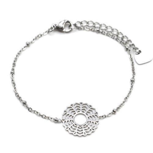 Bracelet-Chaine-Boules-avec-Fleur-Rosace-Acier-Argente