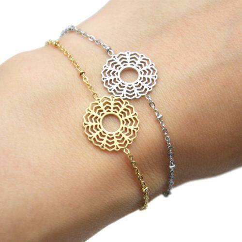 Bracelet-Chaine-Boules-avec-Fleur-Rosace-Acier