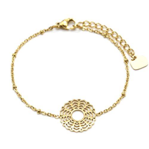 Bracelet-Chaine-Boules-avec-Fleur-Rosace-Acier-Dore