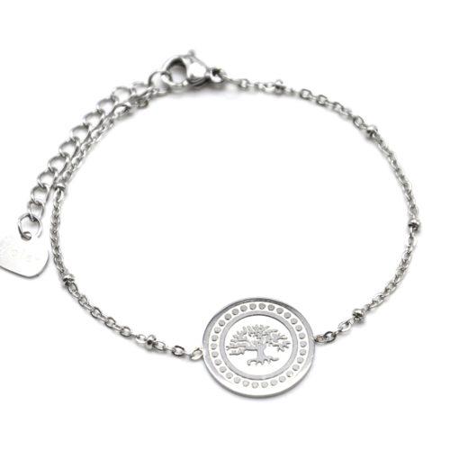 Bracelet-Chaine-Boules-avec-Medaille-Arbre-de-Vie-et-Contour-Points-Acier-Argente