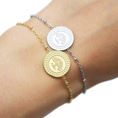 Bracelet-Chaine-Boules-avec-Medaille-Arbre-de-Vie-et-Contour-Points-Acier