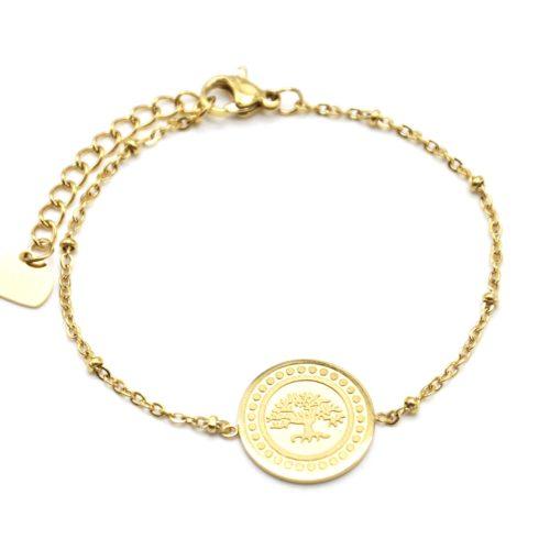 Bracelet-Chaine-Boules-avec-Medaille-Arbre-de-Vie-et-Contour-Points-Acier-Dore