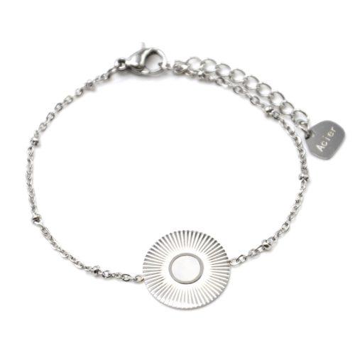 Bracelet-Chaine-Boules-avec-Medaille-Rayons-Soleil-Acier-Argente-et-Nacre-Blanc