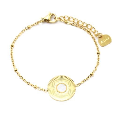 Bracelet-Chaine-Boules-avec-Medaille-Rayons-Soleil-Acier-Dore-et-Nacre-Blanc