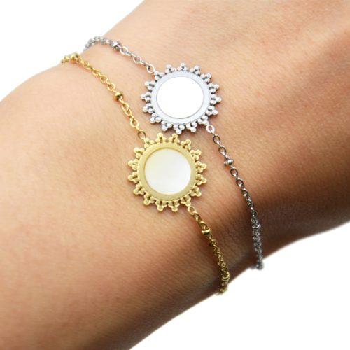 Bracelet-Chaine-Boules-avec-Soleil-Acier-et-Centre-Nacre-Blanc