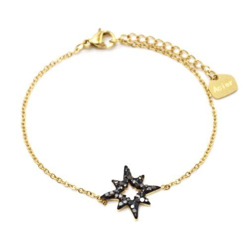 Bracelet-Fine-Chaine-Acier-Dore-avec-Etoile-Polaire-Strass-Gris