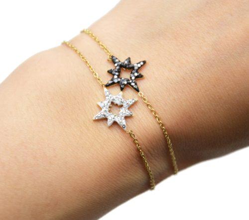 Bracelet-Fine-Chaine-Acier-Dore-avec-Etoile-Polaire-Strass