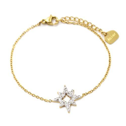 Bracelet-Fine-Chaine-Acier-Dore-avec-Etoile-Polaire-Strass-Blanc