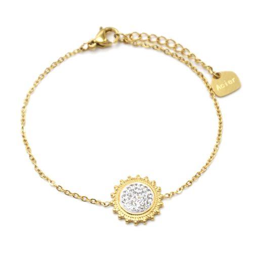 Bracelet-Fine-Chaine-avec-Soleil-Contour-Acier-Dore-et-Strass-Blanc