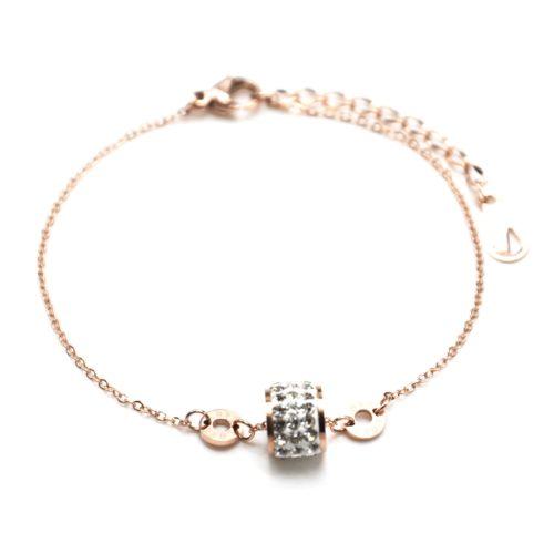 Bracelet-Fine-Chaine-Acier-Or-Rose-avec-Charms-Anneau-Strass-et-Cercles-Love