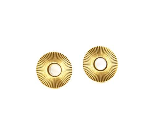 Boucles-dOreilles-Medaille-Rayons-Soleil-Acier-Dore-et-Nacre-Blanc
