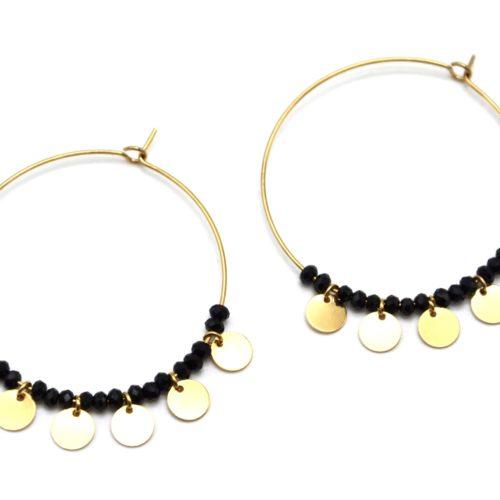 Boucles-dOreilles-Creoles-avec-Multi-Pampilles-Acier-Dore-et-Perles-Noires