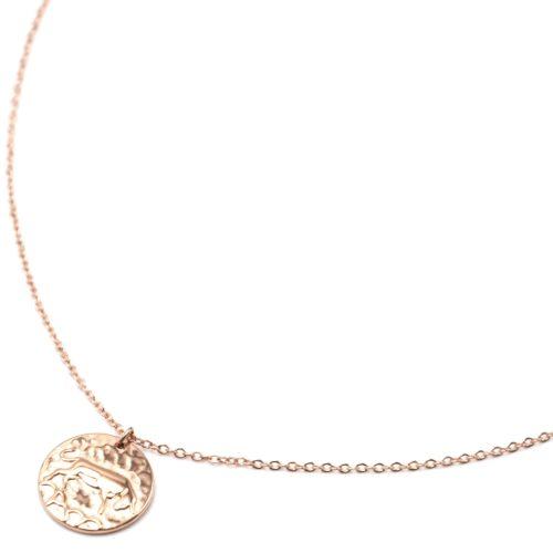 Collier-Pendentif-Medaille-Signe-Astro-Taureau-Acier-Or-Rose