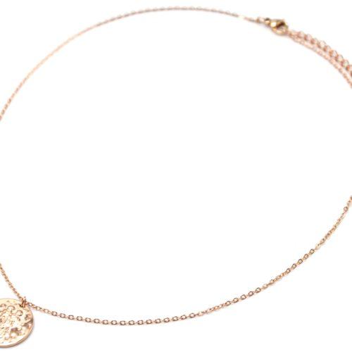 Collier-Pendentif-Medaille-Signe-Astro-Gemeaux-Acier-Or-Rose