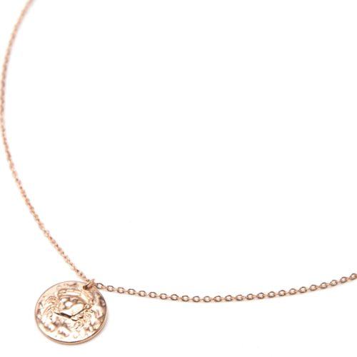 Collier-Pendentif-Medaille-Signe-Astro-Cancer-Acier-Or-Rose