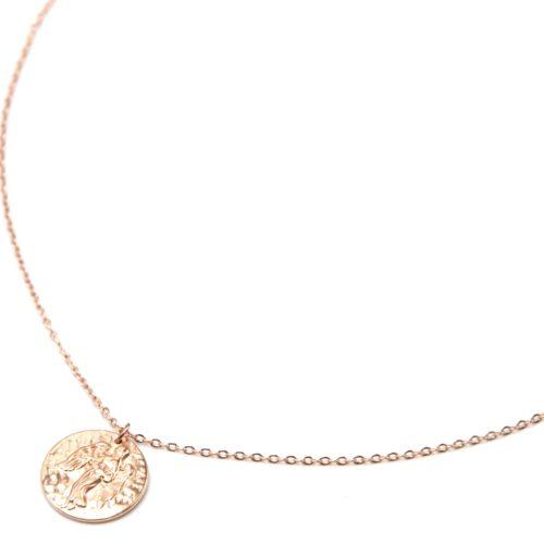 Collier-Pendentif-Medaille-Signe-Astro-Vierge-Acier-Or-Rose