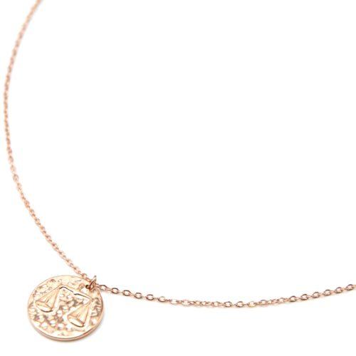 Collier-Pendentif-Medaille-Signe-Astro-Balance-Acier-Or-Rose