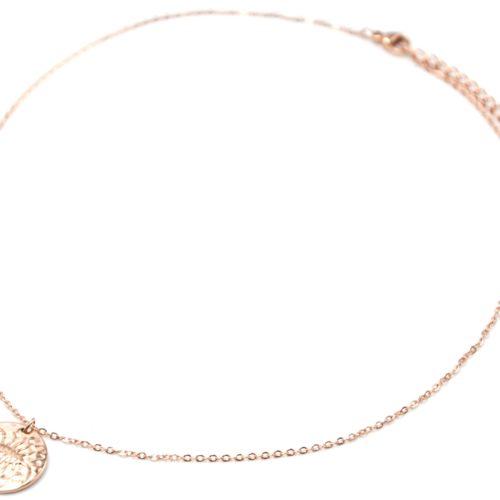 Collier-Pendentif-Medaille-Signe-Astro-Scorpion-Acier-Or-Rose