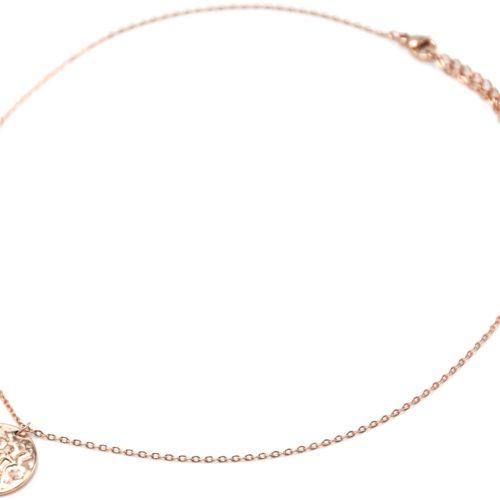 Collier-Pendentif-Medaille-Signe-Astro-Sagittaire-Acier-Or-Rose