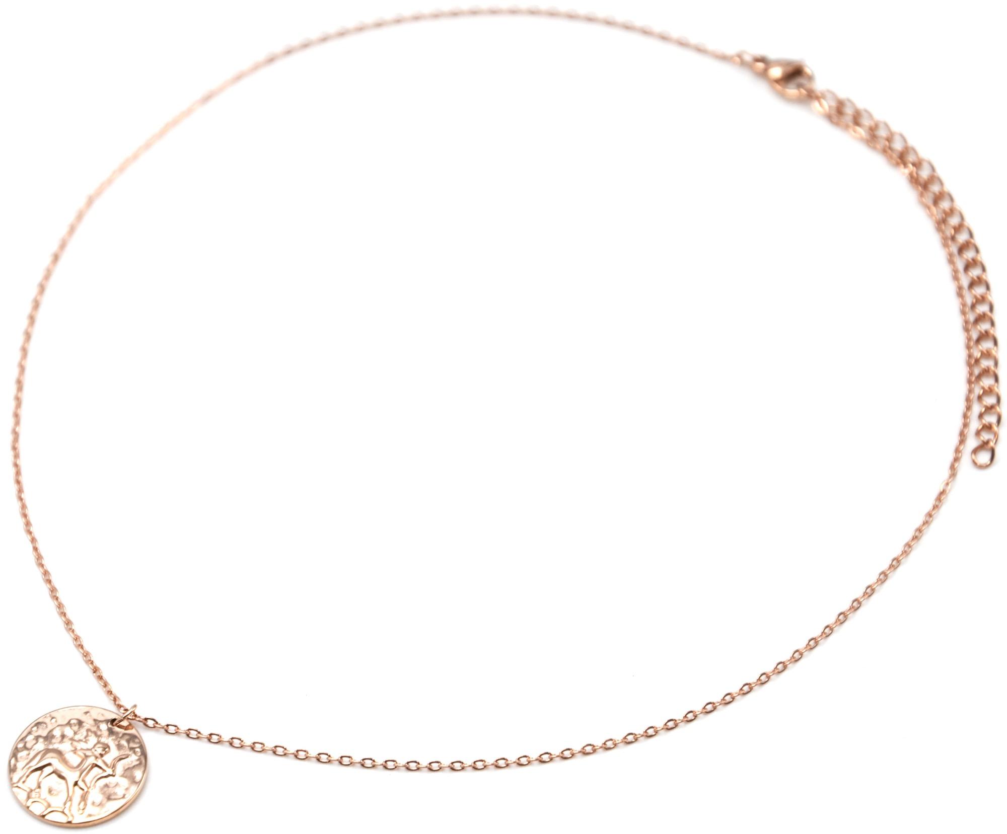 Sagittaire Chaîne Collier Or Fine Pendentif Cc2466f Médaille Signe Zodiaque Rose Acier Avec Pkw08nO
