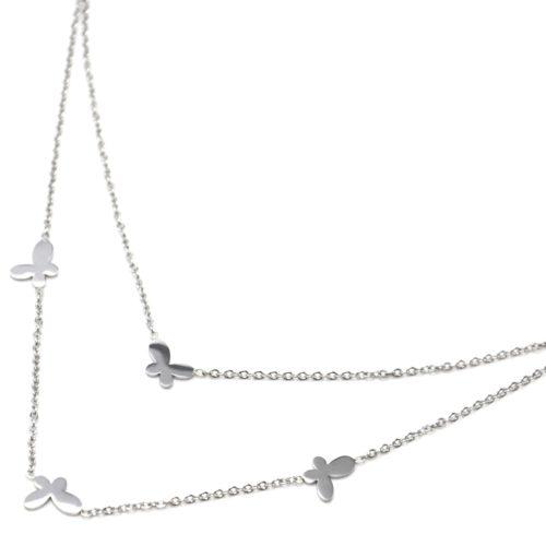 Collier-Double-Chaine-Acier-Argente-avec-Charms-Mini-Papillons
