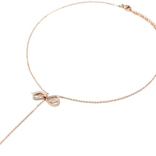 Collier-Fine-Chaine-Pendentif-Y-Noeud-Boucle-Strass-et-Acier-Or-Rose-avec-Pierre
