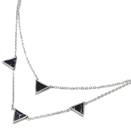 Collier-Double-Chaine-Acier-Argente-avec-Charms-Triangles-Effet-Marbre-Noir